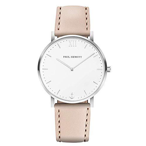 PAUL HEWITT Armbanduhr Damen Sailor Line White Sand - Edelstahl Damen Uhr (Silber), Damenuhr mit Lederarmband in Beige, weißes Ziffernblatt