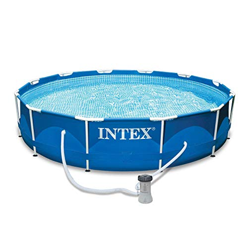Intex 28211EH 12-Foot x 30-inch Metal Frame Round 6 Person Outdoor Above Ground Swimming Pool with...
