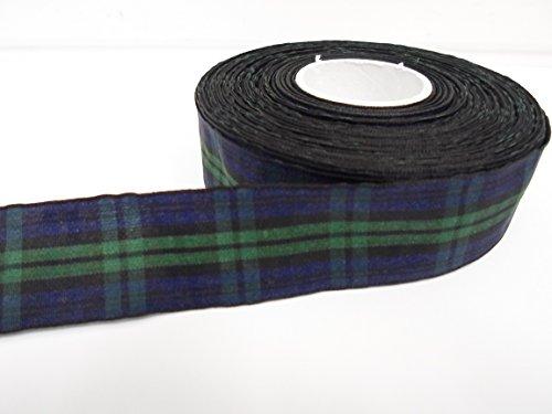 Beautiful Ribbon 2 mètres x 25 mm 2.5cm Bleu Marine/Ruban de Tartan Vert Double Face Black Watch 25 mm