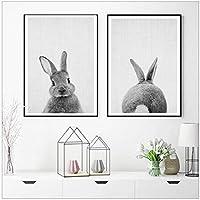 黒と白の赤ちゃん動物ウサギの尾のキャンバスアートプリントとポスターウッドランズバニーキャンバス絵画北欧の壁の装飾-(60x80cm)x2pcsフレームレス