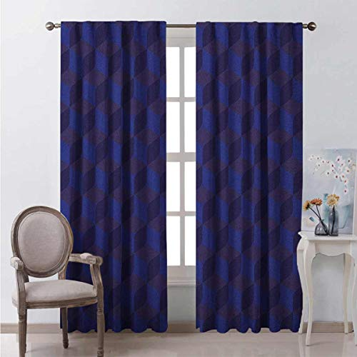 Toopeek Indigo Heat Insulation Curtain 3D Print Like Geometrical Futuristic Inspired Shadow Boxes Cubes Image Print for Living Room or Bedroom W54 x L72 Inch Dark Blue and Blue