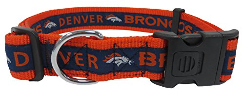 NFL Denver Broncos Dog Collar, X-Large SUPER TOUGH with Anti-Open Safety Lock Button