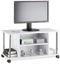 Relaxdays Mueble para TV con Ruedas, Madera y Acero Inoxidable, Blanco, 40x80x41.5 cm