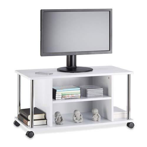 Relaxdays tv-tafel wit, tv-onderkast met 4 wielen, rolbare televisiekast, MDF, HxBxD: 41,5 x 80 x 40 cm, wit