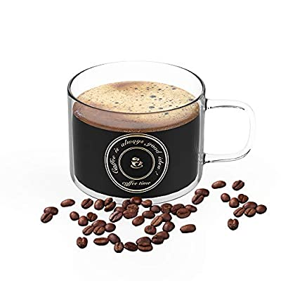 Glass Coffee Mugs or Tea Cup, Heat-resistant Large Wide Mouth Hot and cold Beverage Mugs(17oz), Crystal Coffee Mug, Clear Espresso Cups with Handle, Household Coffee Drink Cup the Best Choice for Gift