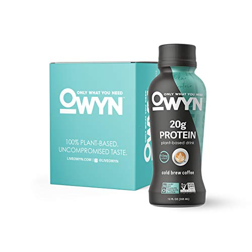 OWYN - 100% Vegan Plant-Based Protein Shakes   Cold Brew, 12 Fl Oz (Pack of 4)   Dairy-Free, Gluten-Free, Soy-Free, Tree Nut-Free, Egg-Free, Allergy-Free, Vegetarian