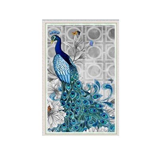 Fabal 3040cm 5D Diamond Embroidery DIY Beautiful Blue Peacock Pictures Diamond Mosaic Needlework Cross Stitch Kits Home Decor Canva (B)