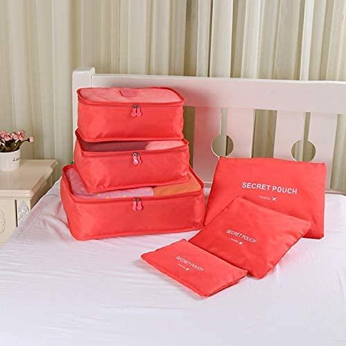 FTFTO Home Renovation Furnishings 5 Sets Oxford Cloth Travel Mesh Bag Luggage Organizer Cube Clothing Organiser (1 Set=6 PCS) (Color : Red)