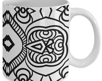 Taza de café con diseño de mandala, para adultos, color me, taza de café con diseño de mandala, color de tu propio café 52