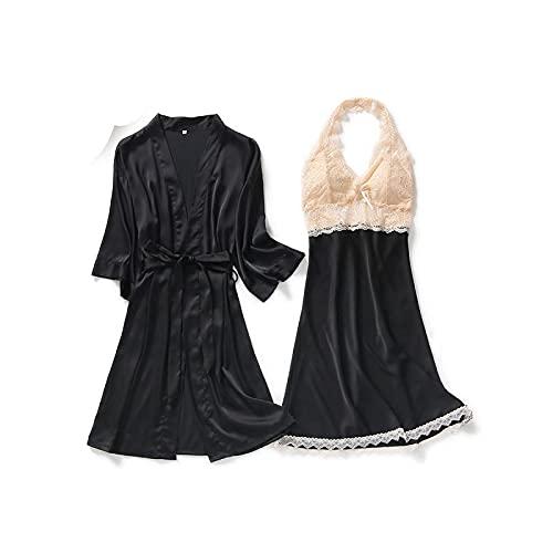 Kimono - Vestido de encaje para mujer, sexy, satén, 4 piezas, ropa de noche suave 2 unidades negras. X-Large