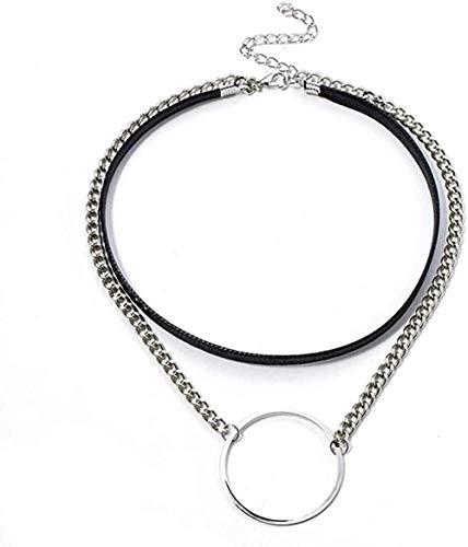 YZXYZH Collar Gargantilla Gótica Collar Punk Cadena Hueco Colgante Redondo Cuerda De Cuero Doble Capa Collar Corto Cadena De Clavícula Joyería