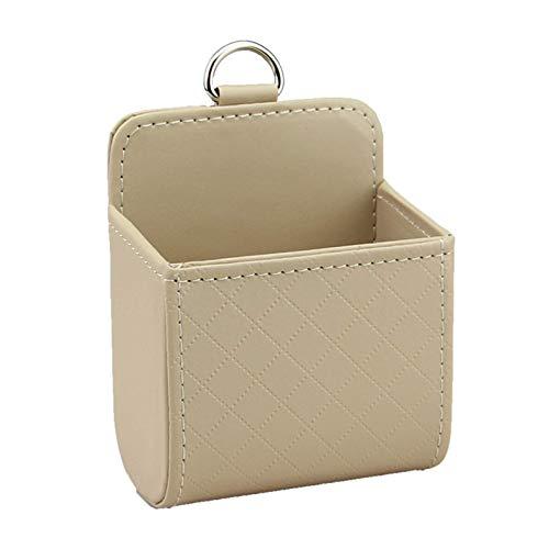 Bolsa de almacenamiento de ventilación de coche, caja organizadora automática con gancho, soporte para máscara de teléfono celular, funda de contenedor de cuero para coche colgar bolsillo (beige)