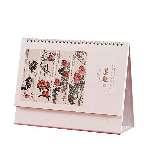 Calendario 2021 Vista de Mes Chinos Año Nuevo 2021 Calendario 2021 para el Año Lunar del Buey,21x8x14cm,Cuadro de Flor de Pintura de Tinta China Calendario de Escritorio 2021 para 2021 Año Nuevo Chin