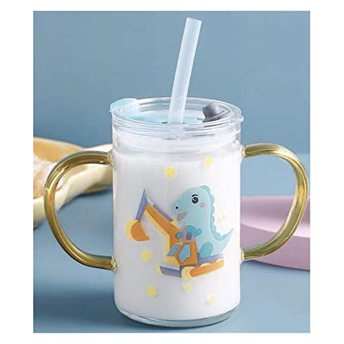 Straw cup Portable Lovely Cartoon Scale School Creative Glass Water Bottle With Straw Spoon Yogurt Mug Best Cup Kid Gift For Women (Color : 1)