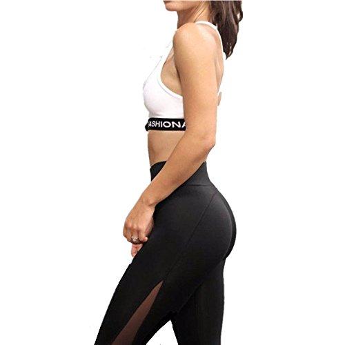 HARRYSTORE Mujer pantalones deportivos y elástico de yoga con cuadrícula mujer Polainas Fitness (S)