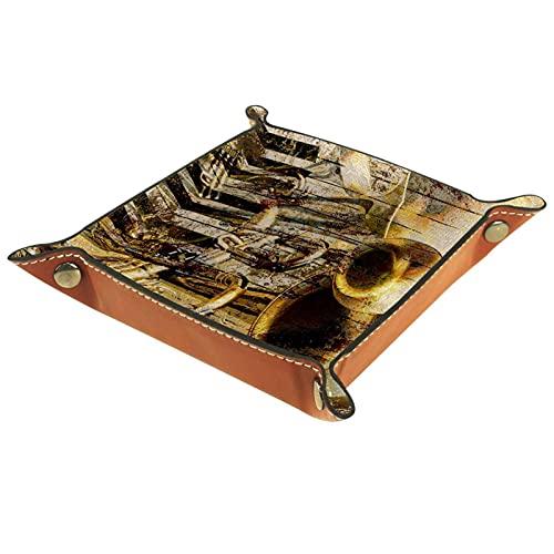Bandeja del valet del almacenamiento del escritorio, almacenamiento plegable de cuero de la joyería de la bandeja Instrumentos musicales del vintage retro para escritorio, oficina, llave, joyería