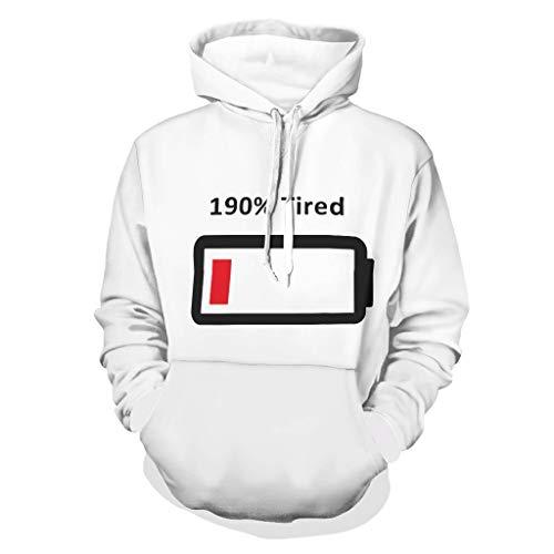 DAMKELLY Store Sudadera con capucha para hombre, 190 % cansada, divertida, con cordón, color blanco