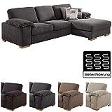 Cavadore Ventere Ecksofa mit Longchair und Wellenunterfederung /  Graue Couch im modernen Design /...
