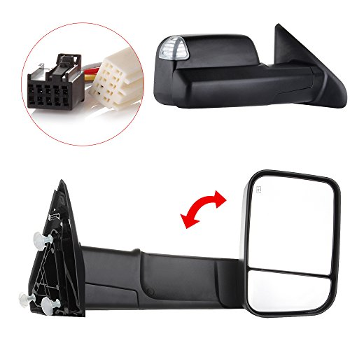 FEIPARTS Tow Mirrors Fit for Towing Mirrors with 2009-2010 for Dodge Ram 1500 2011-2019 Ram 1500 2500 3500 Power Adjusted Heated Turn Signal Puddle Light with Black Housing Pair Left Right Mirrors