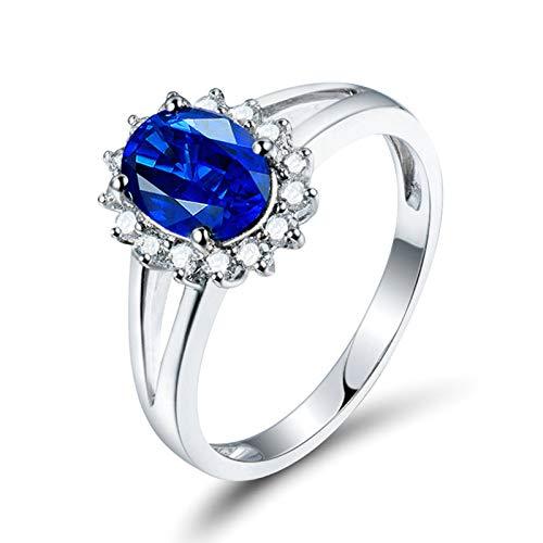 Beydodo Trauring Weißgold 750 Damen, Blume mit 1ct Oval Saphir Solitär Ring Verlobungsring Ehering Nickelfrei Frauen Ring Diamant Große 58 (18.5)