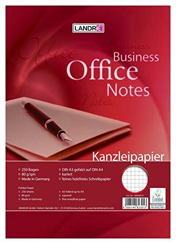 LANDRE 100050619 Kanzleipapier Office 250 Kanzleibogen kariert 80 g/m² holzfreies Papier - Ideal für Schule und Büro