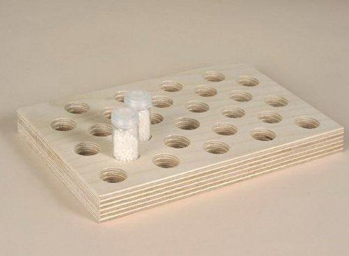 Sortierplatten Globuli, Schüssler Salze, Tabletten, 27 Bohrungen für 7g Gläser ø 20mm (z. B. für Tablettengläser Rollrand)
