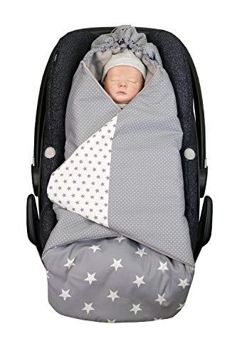 ULLENBOOM ® Einschlagdecke Babyschale Graue Sterne (Made in EU) - Babydecke für Autositz (z.B. Maxi Cosi ®), Babywanne oder Kinderwagen, ideale Decke für Babys (0 bis 9 Monate)