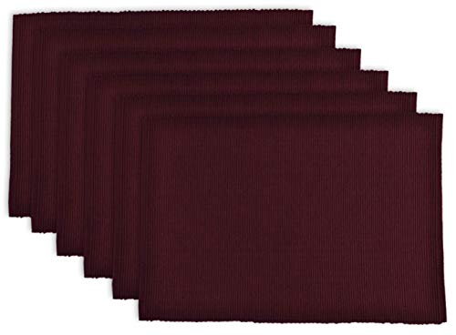 DII 100% Cotton Basic Ribbed Placemat Set, Set of 6, Blackberry 6 Count