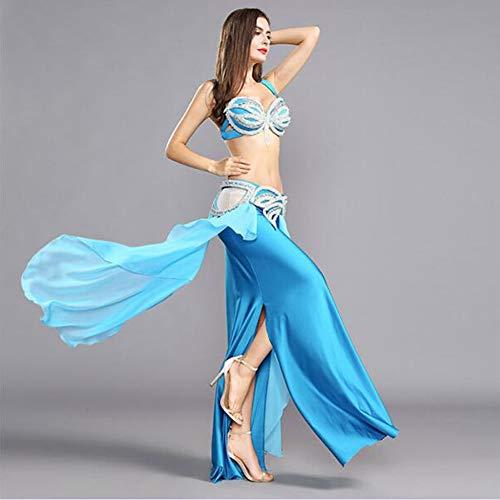 GXFXLP UnaVientre Traje De La Danza Elegante Vestido Delgado De Danza Trajes De Danza del Vientre De Las Mujeres De La Falda Llena De Flamenco Faldas Traje De Danza del Vientre,Azul,S