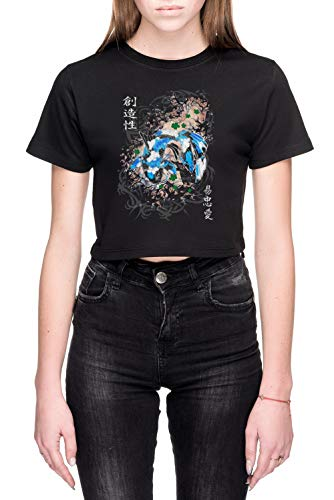 Pak Slaag Koi Dames Crop T-Shirt Zwart Women's Crop T-Shirt Black