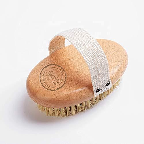 Enhal Premium Körperbürste Vegan | gegen Cellulite | Profi Trockenbürste | mittlere Stärke | Naturborsten | Buchenholz | Lymphdrainage | Massagebürste | für makellose Haut | Body Dry Brush