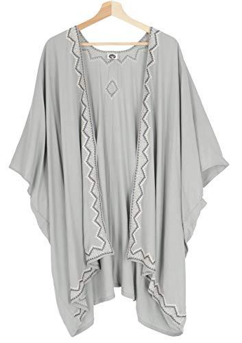 Guru-Shop - Kimono, Kaftan, vestido de playa, mujer, gris, sintético, talla: 44, blusas y túnica gris claro 46