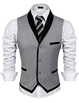COOFANDY Men s V-Neck Sleeveless Slim Fit Vest,Jacket Business Suit Dress Vest Grey X-Large Chest  47.2