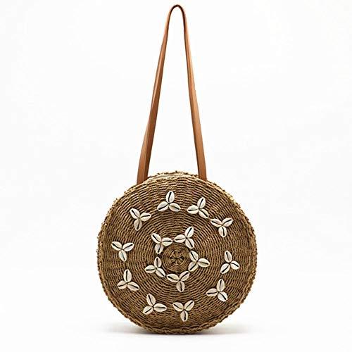 Handgewebte Runde Stroh Tasche mit Muscheln Dekor Frauen Schulter Stroh Tasche Crossbody Geldbörse Strand Messenger Bag für Urlaubsreisen Berufung