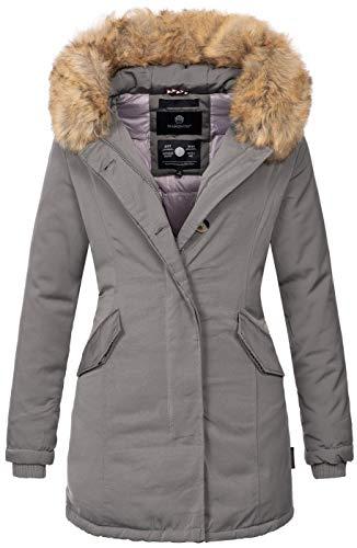 Marikoo Damen Winter Jacke Parka Mantel Winterjacke warm gefüttert B362 [B362-Karmaa-Grau-Gr.S]
