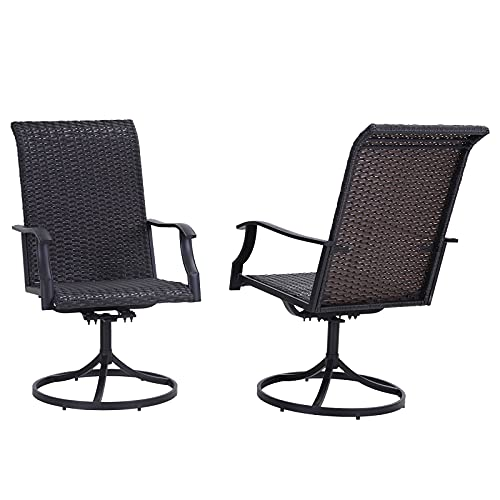 Sophia & William Patio Dining Chairs Wicker Outdoor Rattan Chairs Set of 2 High Back Swivel Dining Chairs Support 350 lbs for Garden, Lawn, Balcony and Poolside All Weather