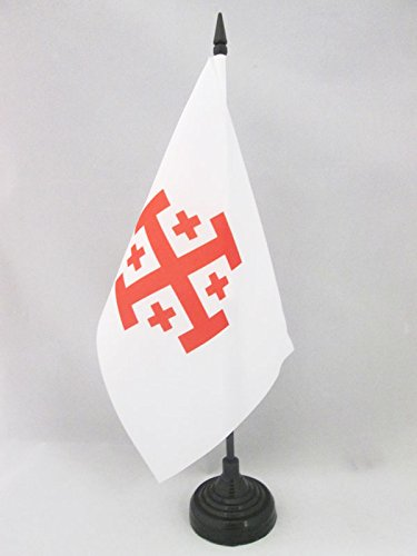 AZ FLAG Bandera de Mesa del Orden Santo SEPULCRO DE JERUSALÉN 21x14cm - BANDERINA de DESPACHO Cristiana 14 x 21 cm