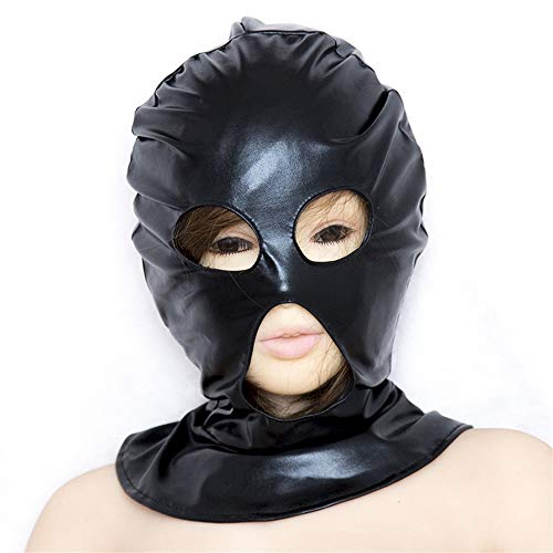 N/A Substitute grownup products, patent leather hood, Erotic eye-opening mouth (Size : Black)
