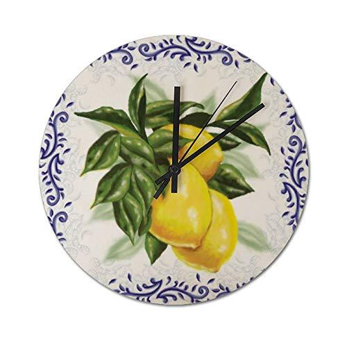 Pealrich 30 x 30 cm, reloj de pared silencioso, reloj de decoración de zumo de limón para el hogar, oficina, escuela, cocina, dormitorio, sala de estar
