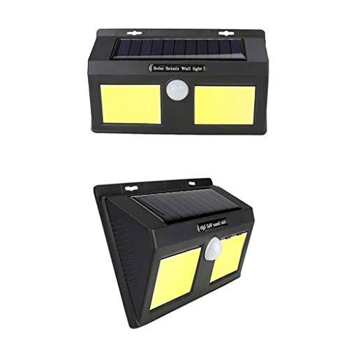 Zonnelamp buiten met 120° bewegingssensor Beveiliging Zonnewand Lamp 70COB 9W IP65 Waterdicht voor Patio Yard Tuin Garage Verlichting, Afmetingen: 20 * 5 * 12 cm (Zwart) (2 Pack)
