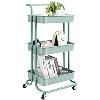 danpinera 3 Tier Rolling Utility Cart with Wheels and Handle Storage Organization Shelves for Kitchen Bathroom Office Library Coffee Bar Trolley Service Cart Green