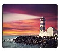 日没時の灯台のビンテージフィルター画像32497975カスタマイズされた四角形のマウスパッド、ゲーミングマウスパッドマウスマット