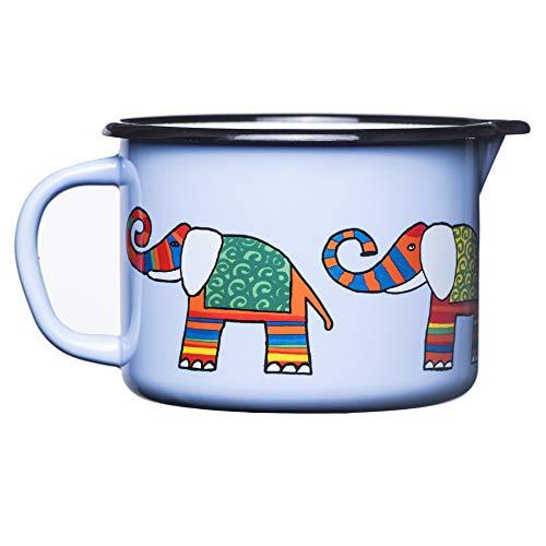 Smaltum Universeller Kleiner hellblauer Kochtopf mit Ohr und Schnabel. Mit einem Elefanten.