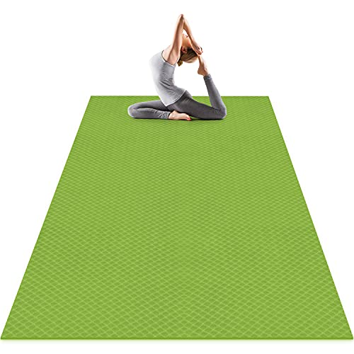 Odoland Tappeto Yoga Grande 183 x 122 x 0.6cm, Tappeto Fitness 6 mm Spesso Antiscivolo e Resistente, Tappetino per Pilates, Yoga, Stretching, Ginnastica a Casa o in Palestra,Verde