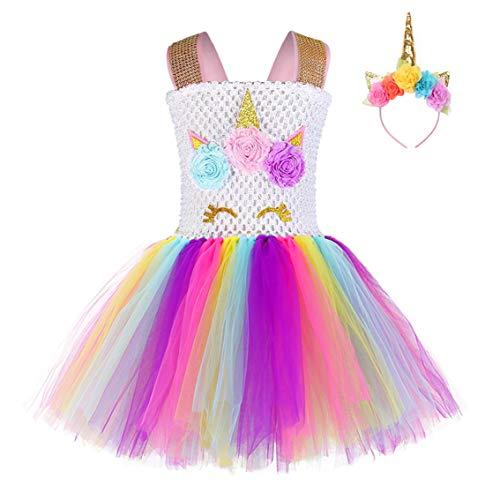 FONLAM Vestido de Bautizo Fiesta Niña Bebé Disfraz de Unicornio Princesa Tutú Vestido Infantil Flores Carnaval Niña