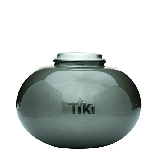 TIKI Brand 6' Clean Burn Glass Pearl of the Sea Table Torch Fire Piece, Pewter