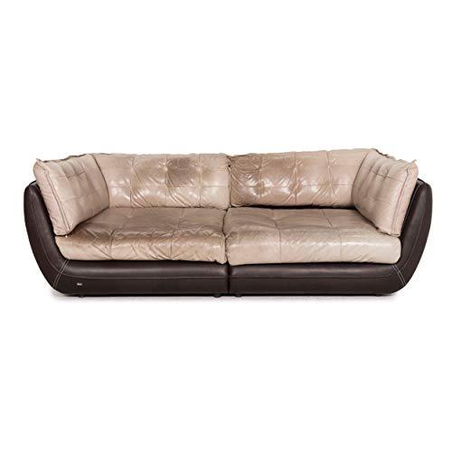 Bretz Cupcake Jepard Leder Sofa Braun Beige Viersitzer Couch #12035