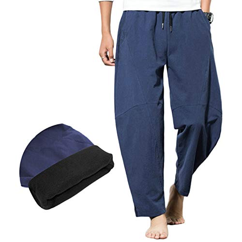 Mens Baggy Warmer Harem Pants with Pockets Drawstring Fleece Thickening Wide Leg Home...