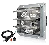 KEN BROWN 12 Inch Shutter Exhaust Fan Wall Mounted,Aluminum with 1.65 Meters Power Cord Kit,High Speed 1800CFM,Vent fan for Commercial,Greenhouse,Attic,Shed,Shop