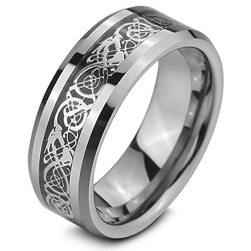 INBLUE Men's Tungsten Ring Band Silver Tone Black Irish Celtic Knot Dragon Wedding Size13